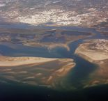 An aerial view of Olhão and the barrier islands of the Ria Formosa (from Wikipedia)