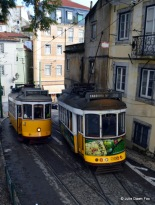 Lisbon trams side by side